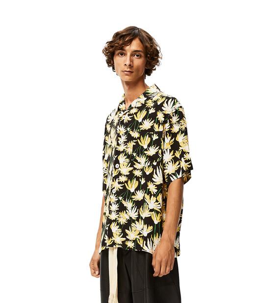 LOEWE Daisy Print Bowling Shirt ブラック/イエロー front