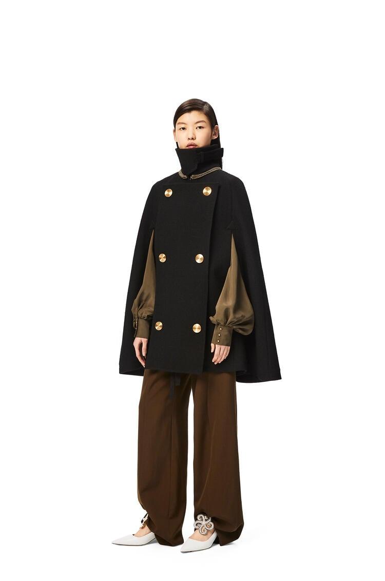 LOEWE Capa militar en lana y cupro Negro pdp_rd
