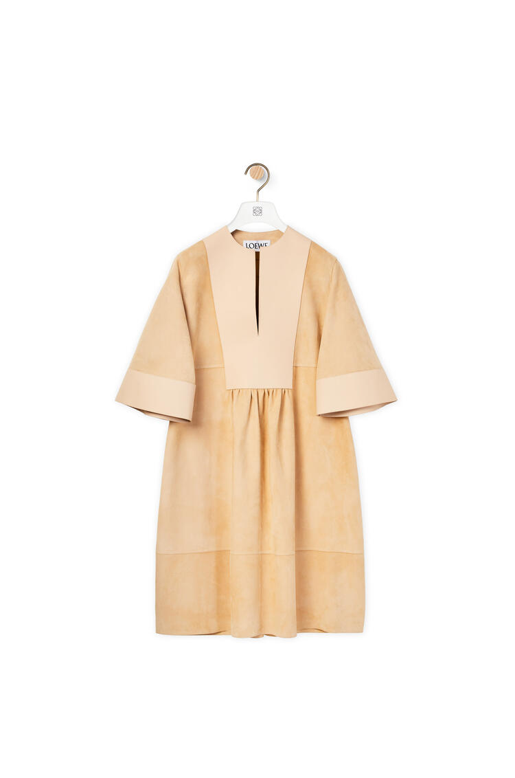 LOEWE Tunic dress in suede and nappa Beige/Sand pdp_rd