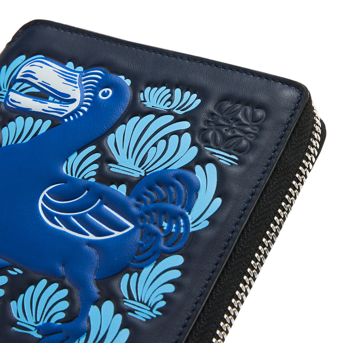 LOEWE Square Zip Wallet Animals Midnight Blue/Electric Blue front