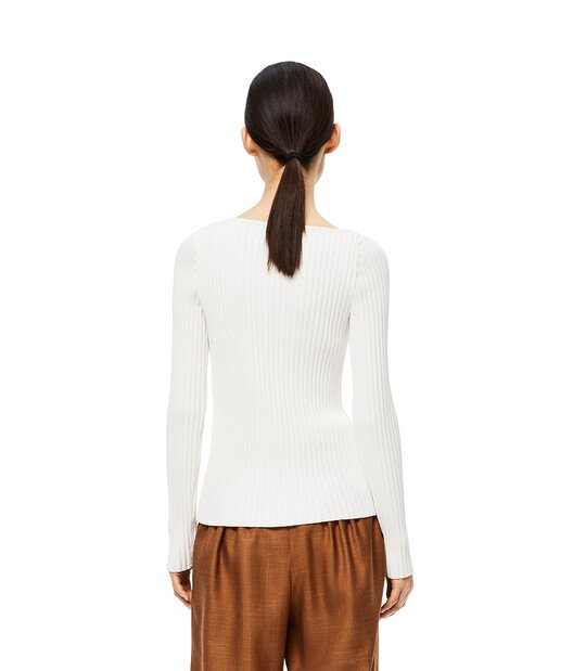 LOEWE Ribbed Asymmetric Collar Sweater White front