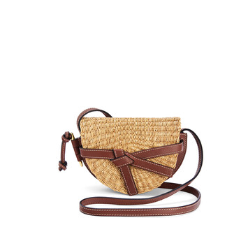 LOEWE Mini Gate Bag In Elephant Grass And Calfskin Natural/Pecan front