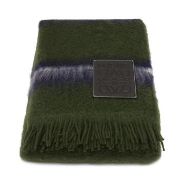 LOEWE 140X200 Stripes Blanket Green Multitone/Black front