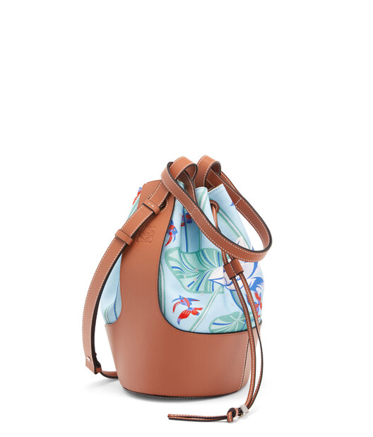 LOEWE Balloon Bag In Waterlily Canvas And Calfskin Aqua/Tan front
