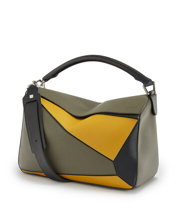 LOEWE Bolso Puzzle Grande Verde Kaki/Ocre front