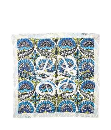 LOEWE 140X140 Scarf Flowers Anagram Blue/Green/White front