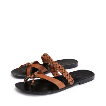 LOEWE Paula Braided Flat Sandal Tan front