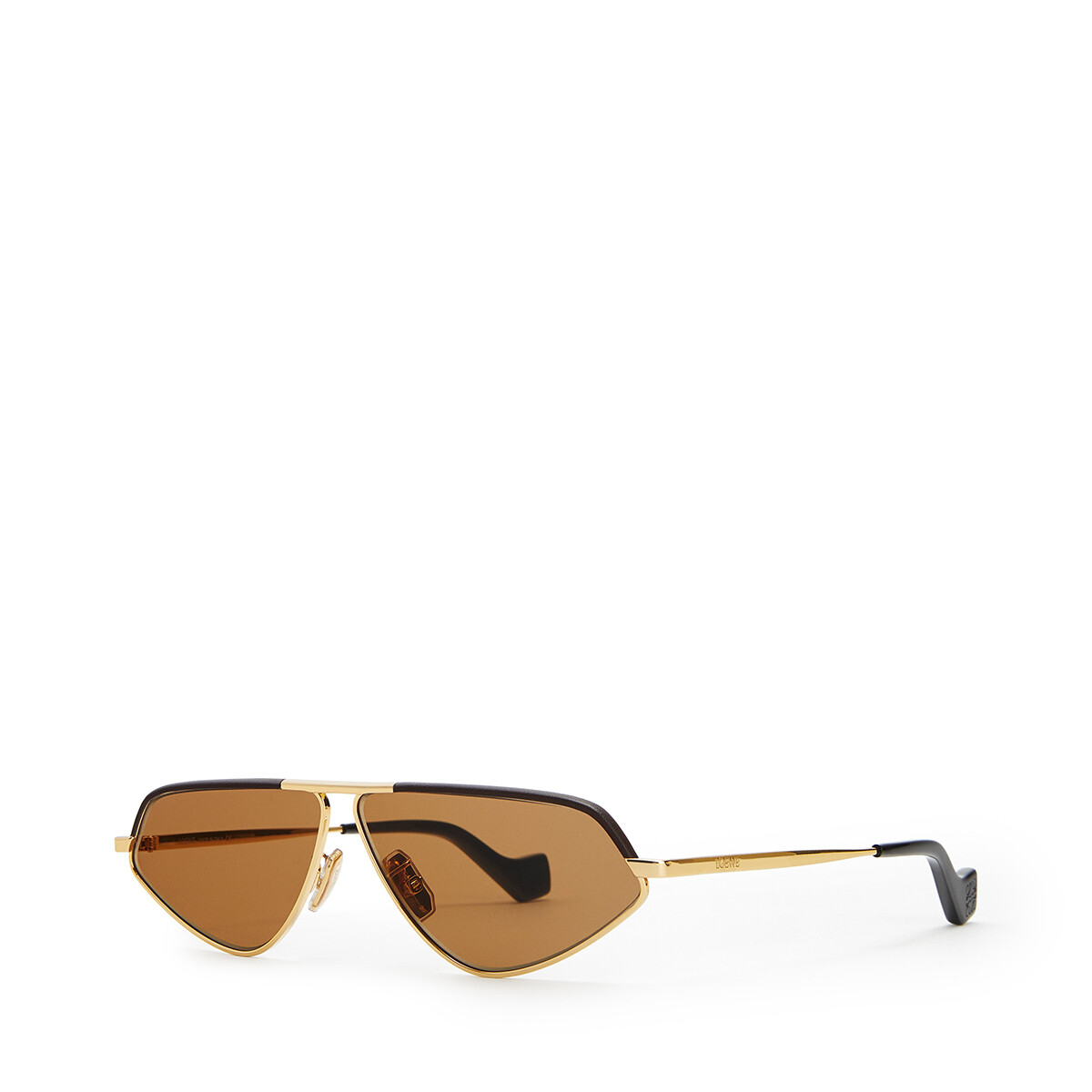 LOEWE Leather Geometric Sunglasses Capuccino front