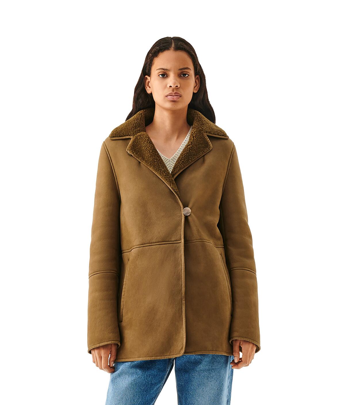 LOEWE Shearling Jacket Khaki Green front