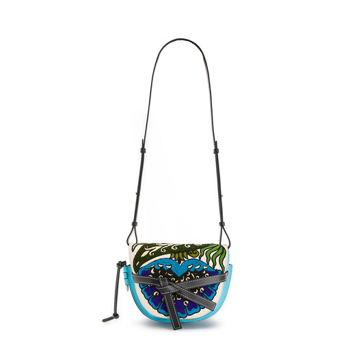 LOEWE Gate Floral Small Bag Peacock Blue front