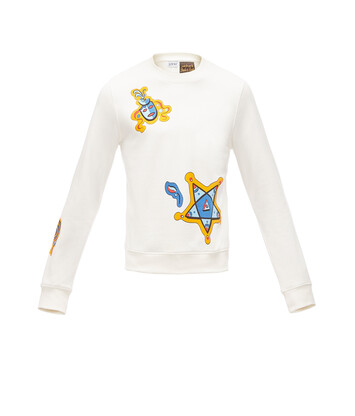 LOEWE Paula Print Sweatshirt Animals White/Multicolor front
