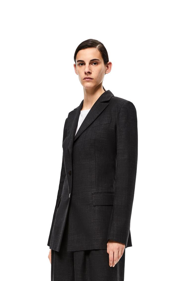 LOEWE Peak Lapel Jacket In Virgin Wool Black pdp_rd