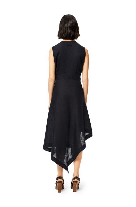 LOEWE V-Neck Wrap Dress In Linen Black front