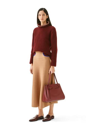 LOEWE Trompe Loeil Knit Skirt Camel/Burdeos front