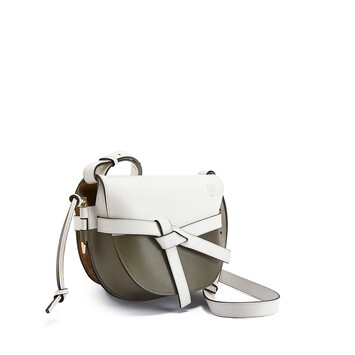 LOEWE Gate Colour Block Small Bag Soft White/Khaki Green front