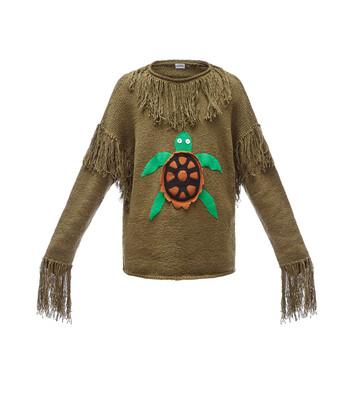 LOEWE Paula Sweater Turtle Beige/Dark Green front