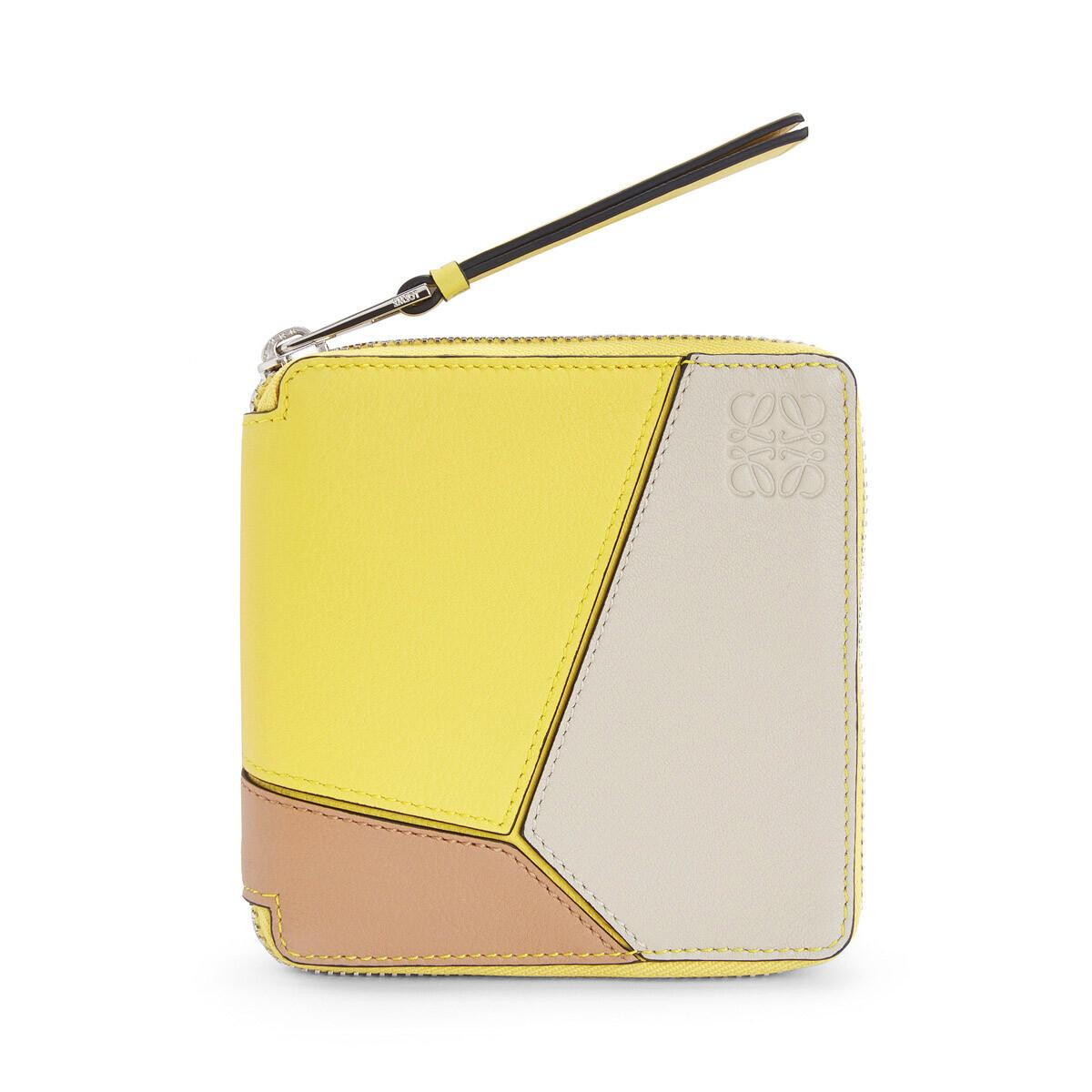 LOEWE Puzzle Square Zip Wallet Yellow/Powder front