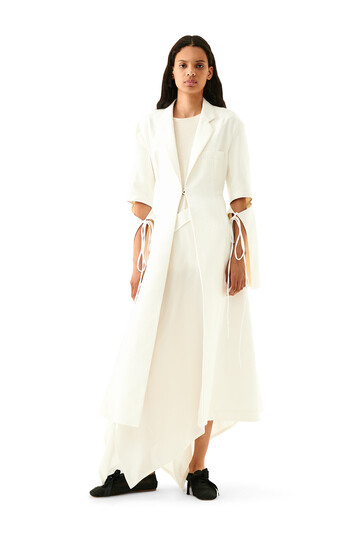 LOEWE Tie Cut Panel Coat Jacquard White front