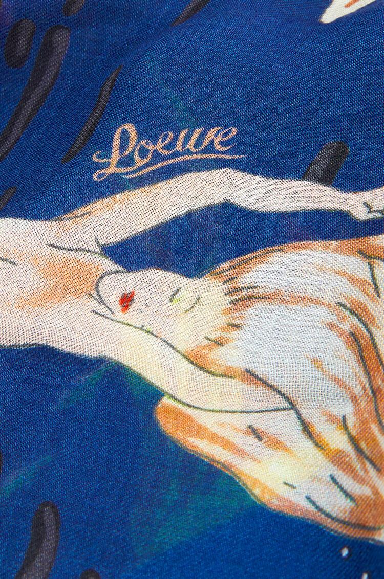 LOEWE Bufanda de 140 x 140 cm en cachemira con sirenas Azul/Azul pdp_rd