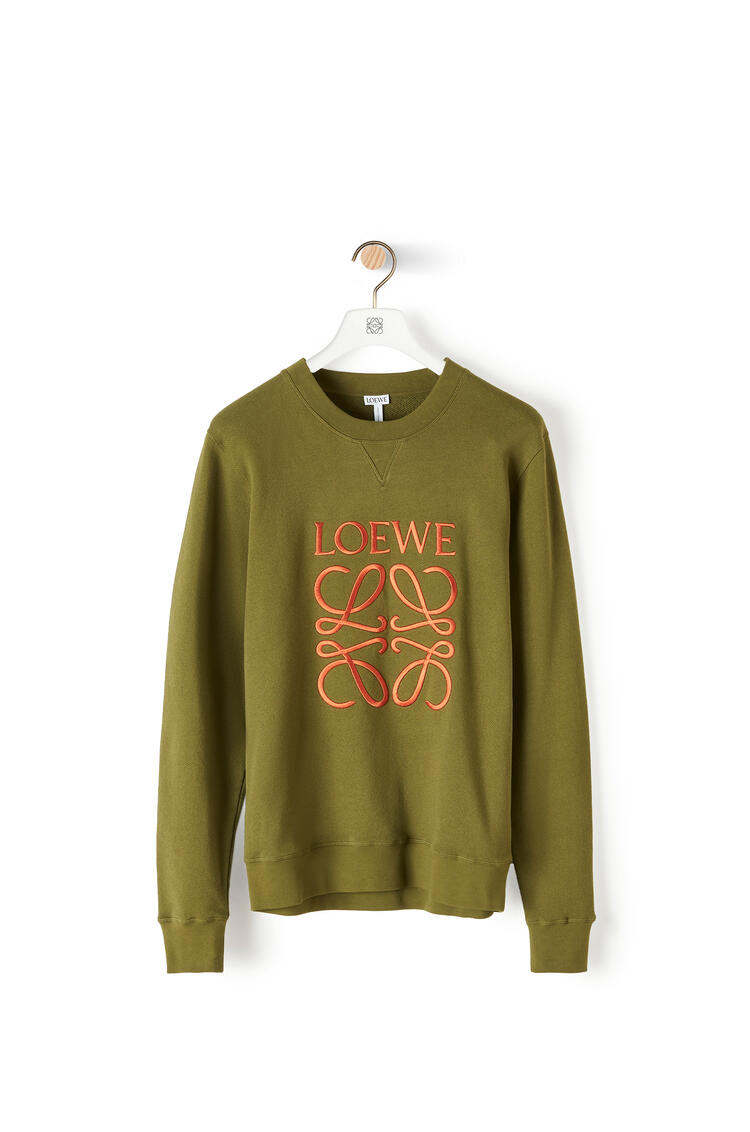 LOEWE Anagram embroidered sweatshirt in cotton Military Green pdp_rd