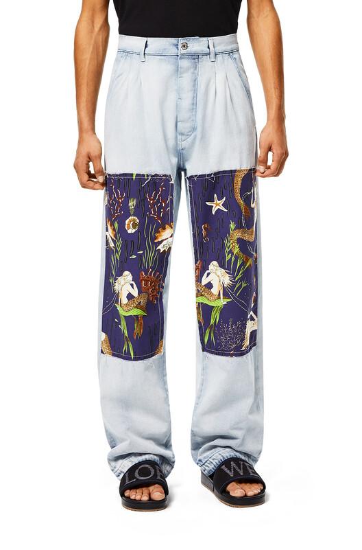 LOEWE Pantalón De Algodón Con Sirenas Y Parches Azul Claro/Multicolor front