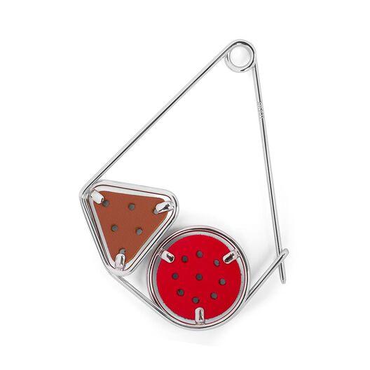 LOEWE Small Double Meccano Pin Primary Red/Tan/Palladium all