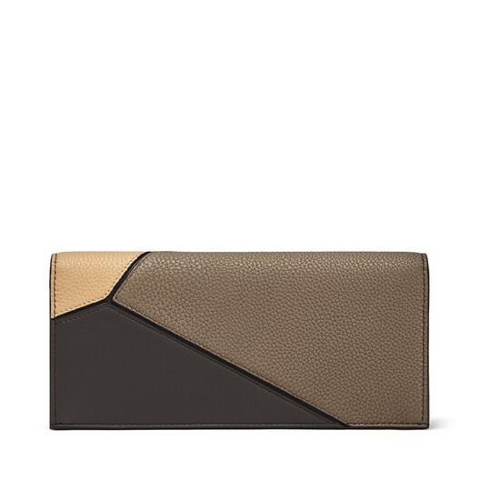 LOEWE Puzzle Long Horizontal Wallet Dark Taupe/Desert front