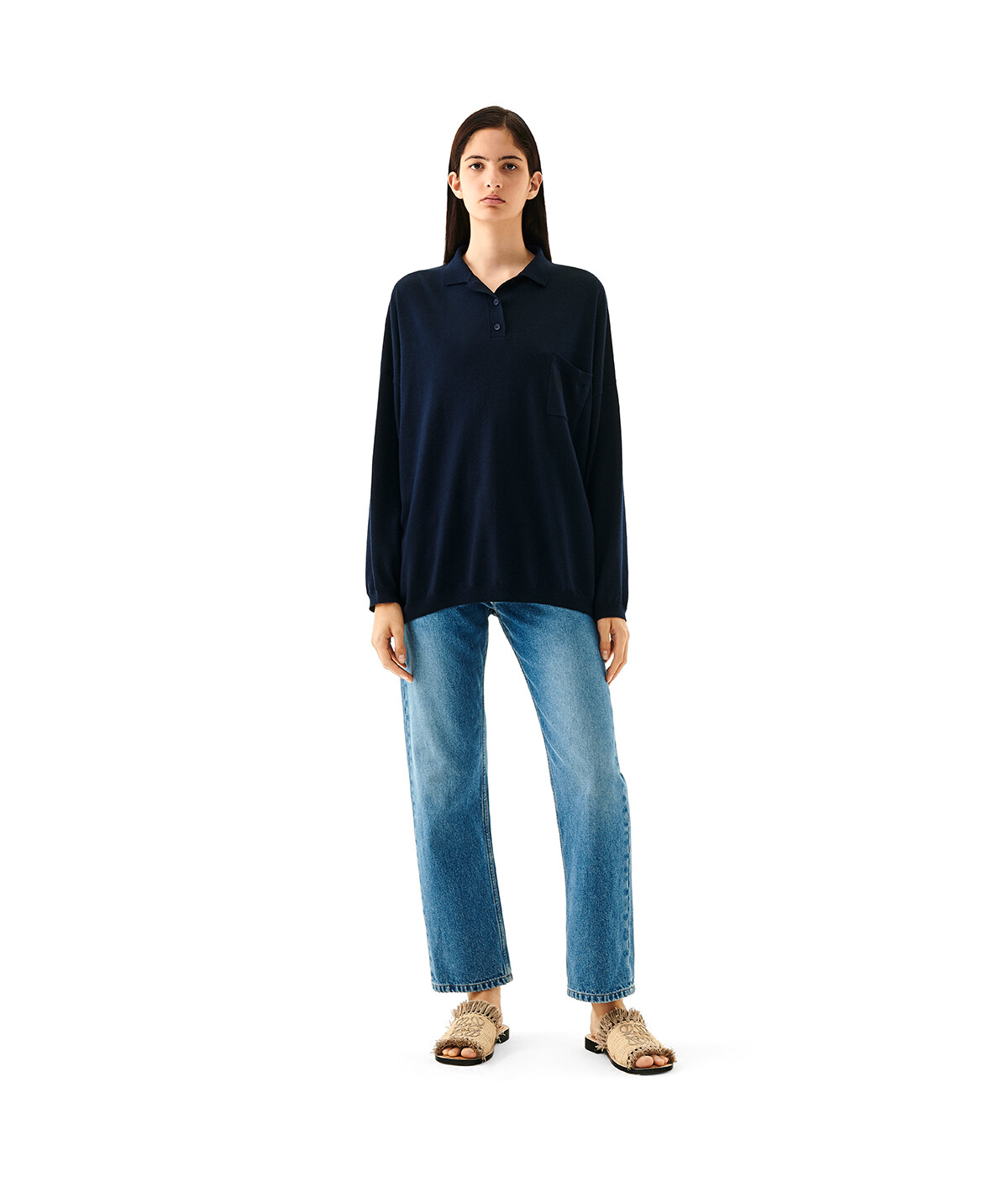 LOEWE Oversize Poloneck Sweater Marino front