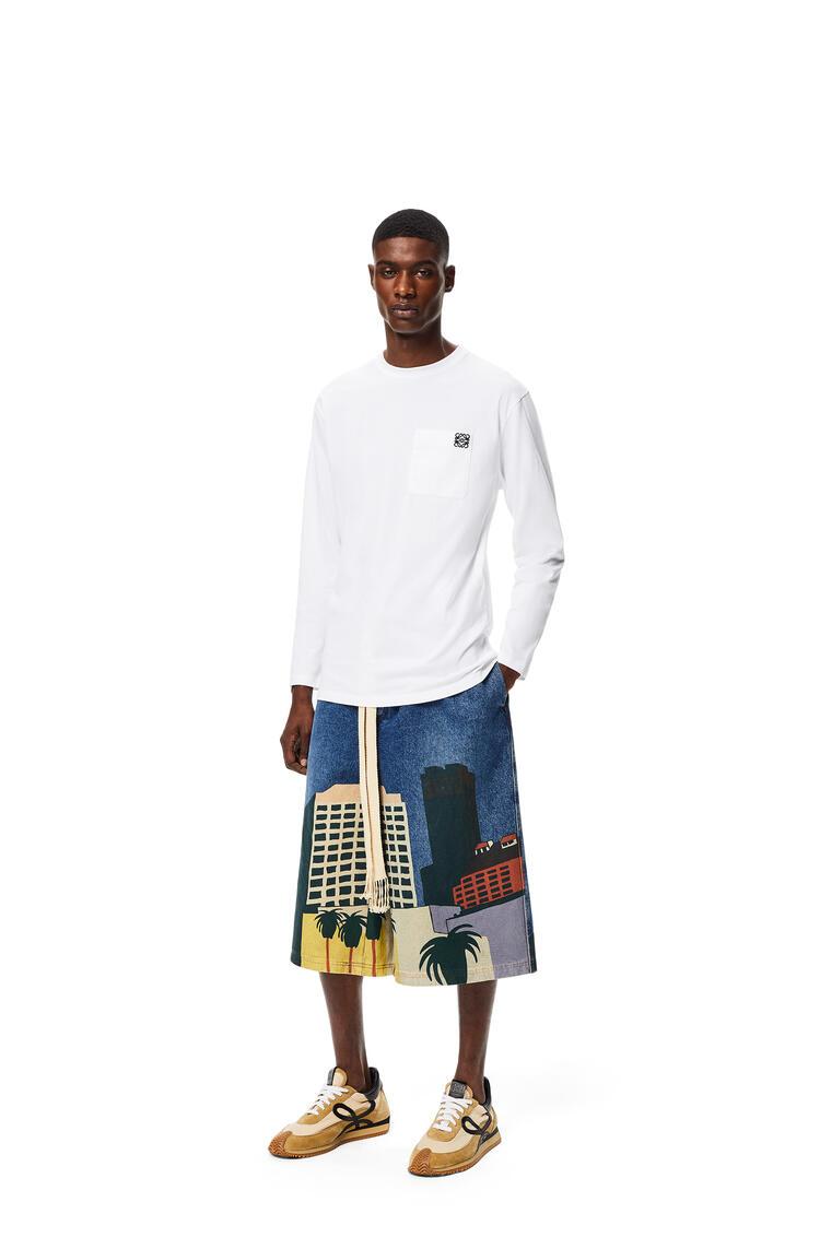 LOEWE Shorts en algodón L.A. Series con cordón Azul/Multicolor pdp_rd