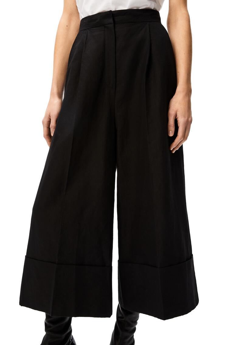 LOEWE Pantalón culotte en algodón y lino Negro pdp_rd