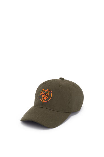 LOEWE Cap in canvas Khaki Green/Orange pdp_rd