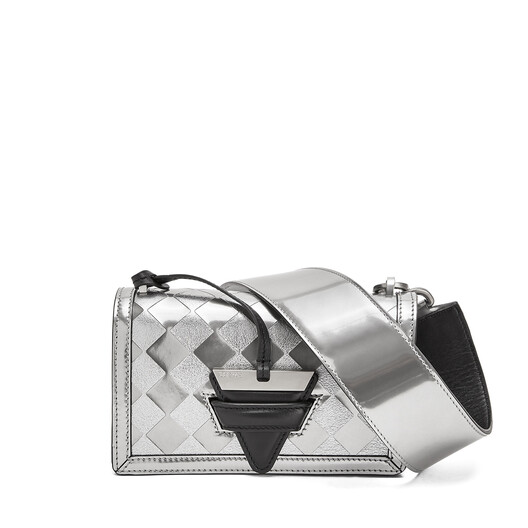 LOEWE バルセロナチェックスモールバッグ Silver/Black front