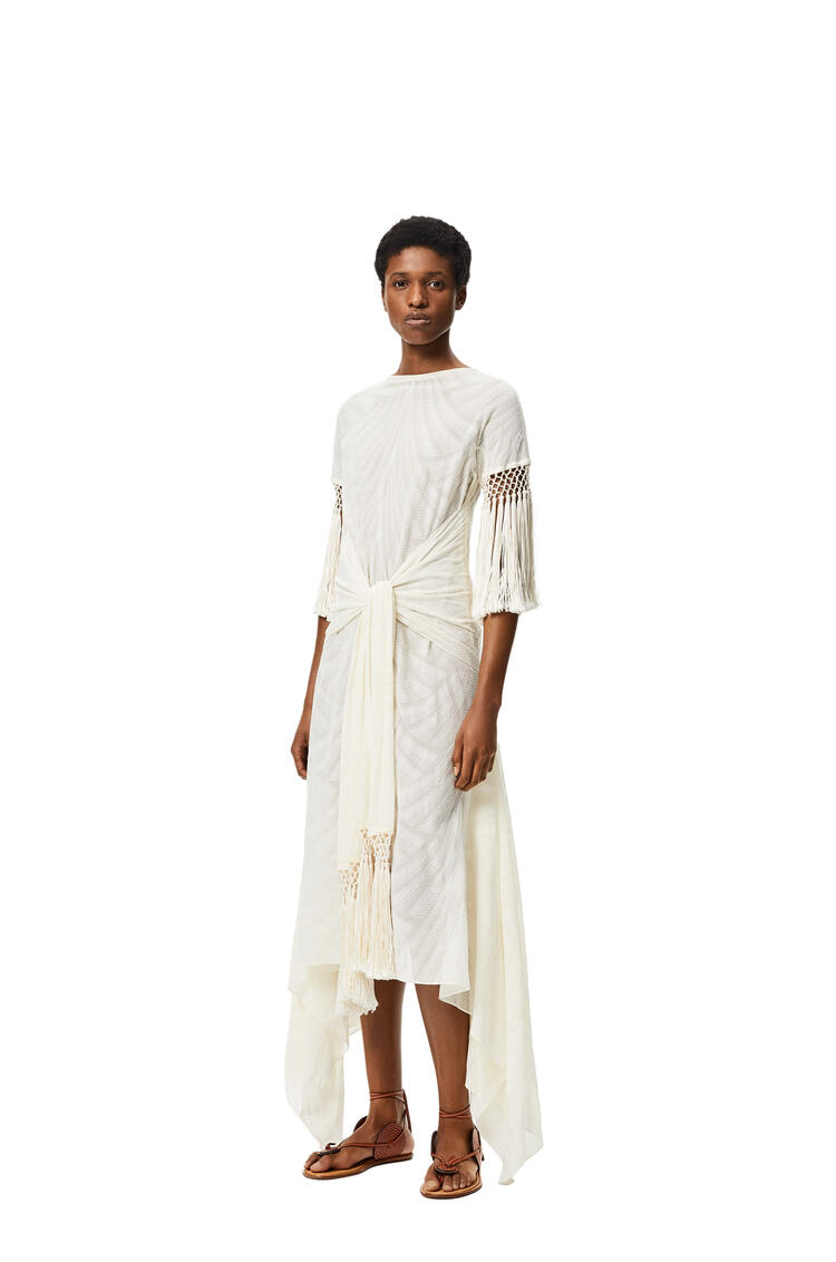 LOEWE Scarf fringed long dress in cotton and polyester Ivory/White pdp_rd