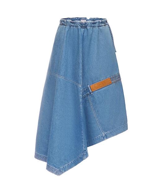 LOEWE Asymmetric Denim Skirt Indigo front