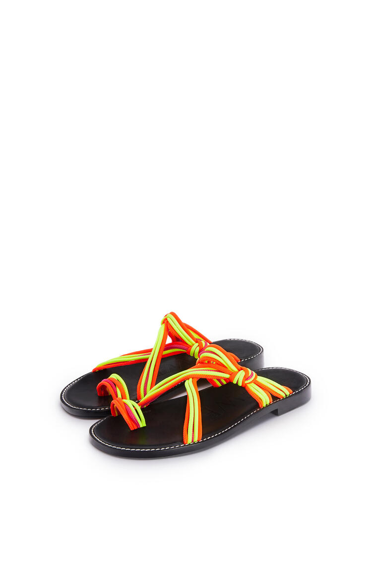 LOEWE Knotted Sandal In Calfskin And Cotton Multicolor/Neon Yellow pdp_rd