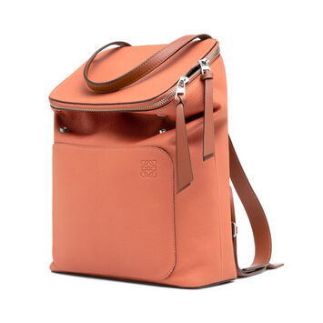 LOEWE Goya Small Backpack Pink Tulip/Tan front