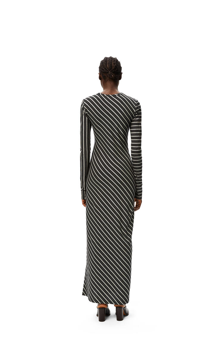 LOEWE Long dress in bias striped cotton Black/White pdp_rd