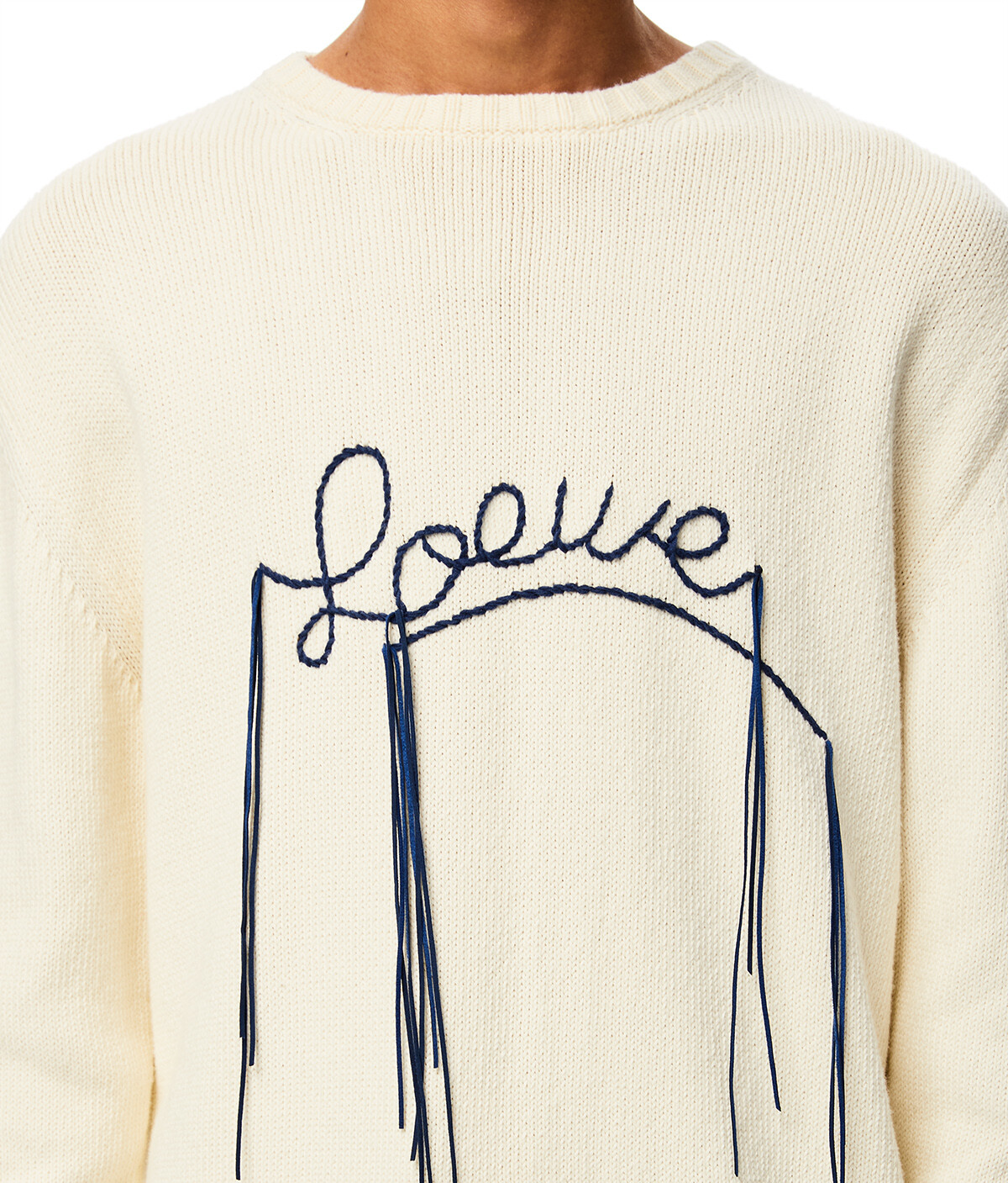 LOEWE Loewe Stitch Sweater Ecru/Navy Blue front