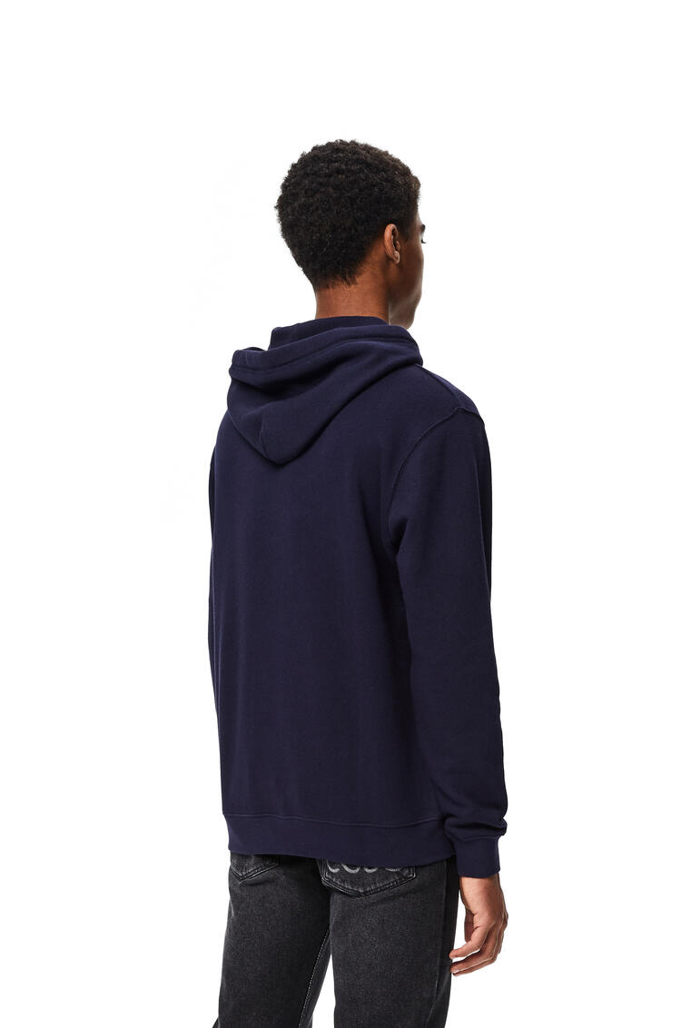 LOEWE Anagram embroidered hoodie in cotton Navy Blue pdp_rd