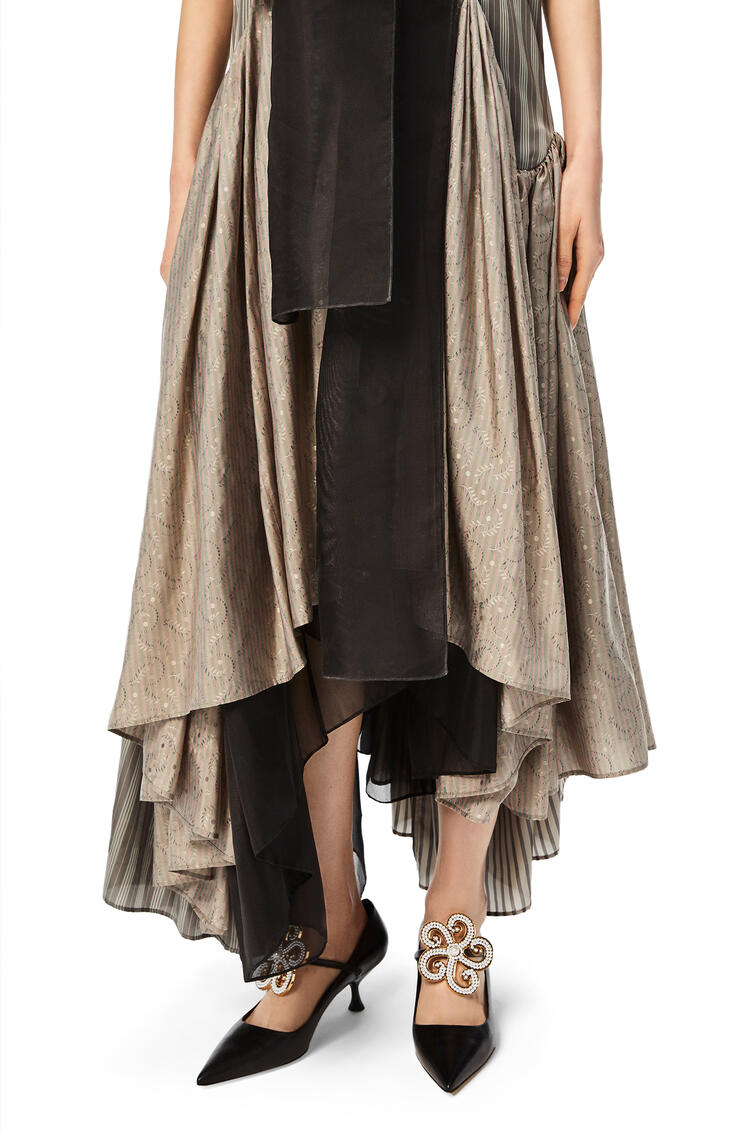 LOEWE Bow patchwork long dress in striped cupro and silk Multicolor pdp_rd