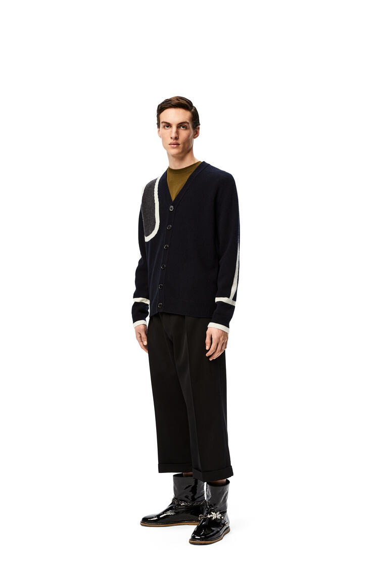 LOEWE Scarf cardigan in wool and cashmere Navy Blue/Grey pdp_rd