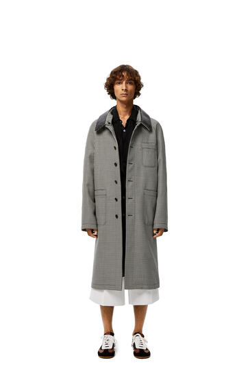 LOEWE Car Coat Leather Collar In Check Cashmere Grey pdp_rd