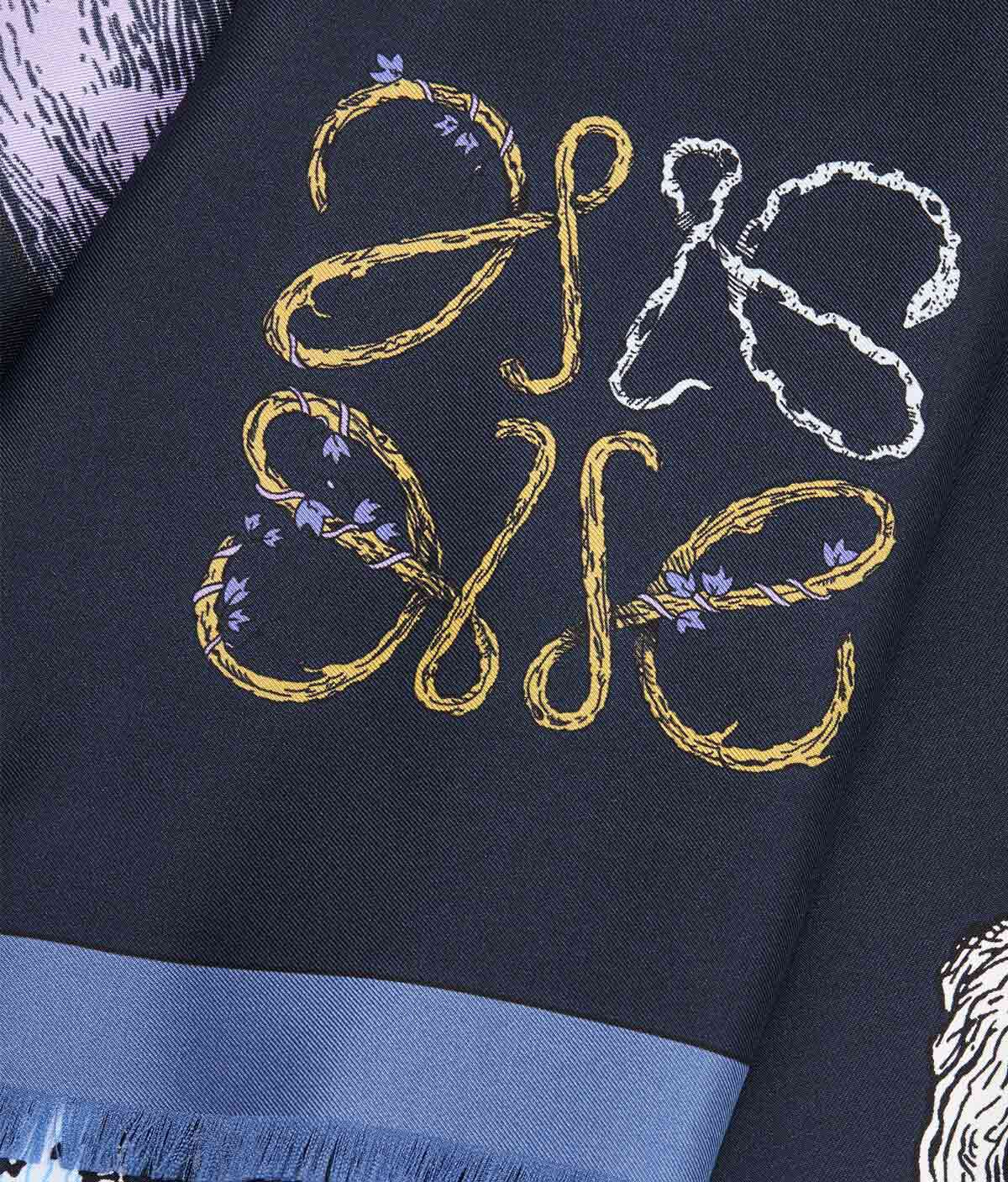 LOEWE 140X140 Scarf Alphabet 海軍藍 front