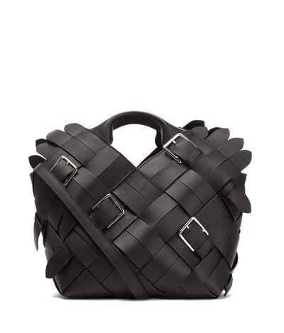 LOEWE Woven Buckle Basket Bag Black front