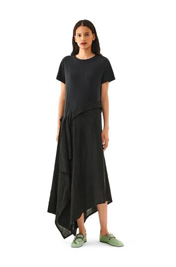 LOEWE Satin & Jersey T-Shirt Dress Black front