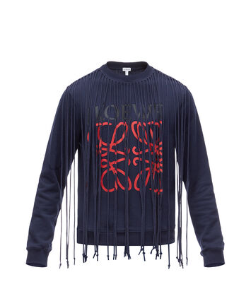 LOEWE Sweatshirt Anagram Fringes Blue/Red front