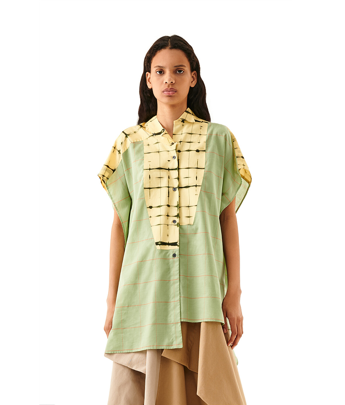 LOEWE Check Short Slv Asym Shirt Green/Yellow front