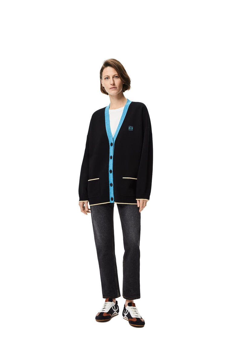 LOEWE Anagram embroidered oversize cardigan in wool Black/Turquoise pdp_rd