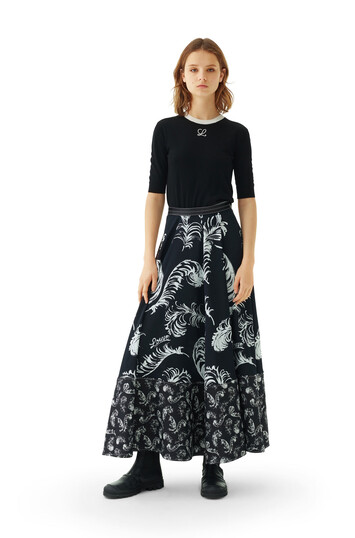 LOEWE Feather Print Skirt Black/White front