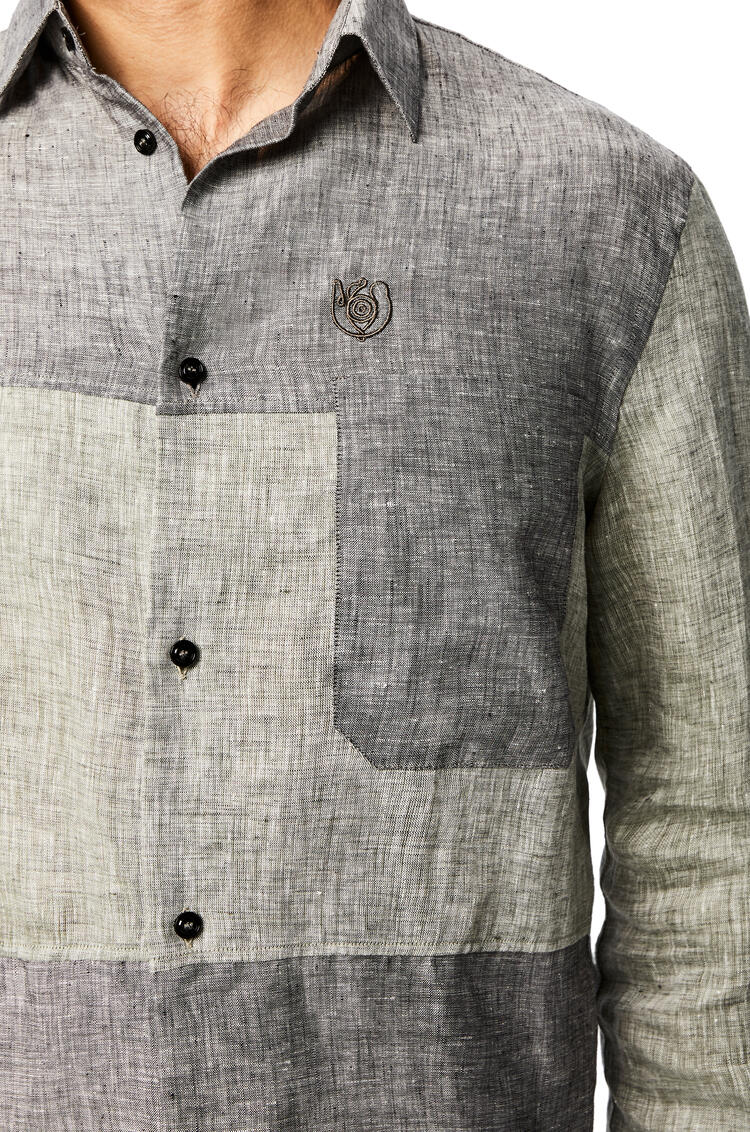 LOEWE Patch pocket shirt in linen Grey pdp_rd